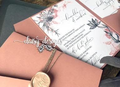 Dusty Rose Grey Feather pocket details