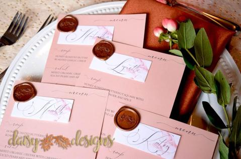 Dusty Rose Grey Feather personal menus