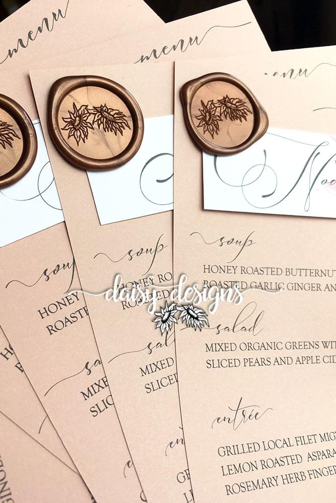 Dusty Rose Grey Feather menus close up
