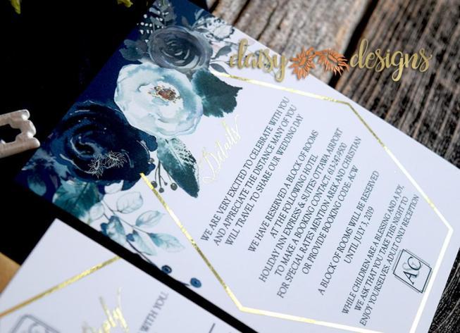 Navy Peonies Foil close up
