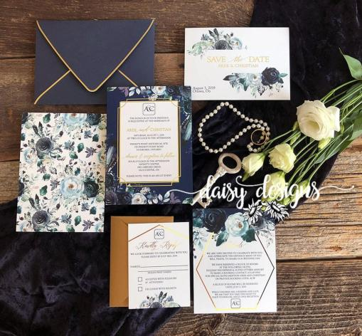 Navy Peonies Foil full suite