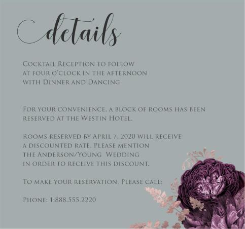 Moody Mauve Roses details card grey
