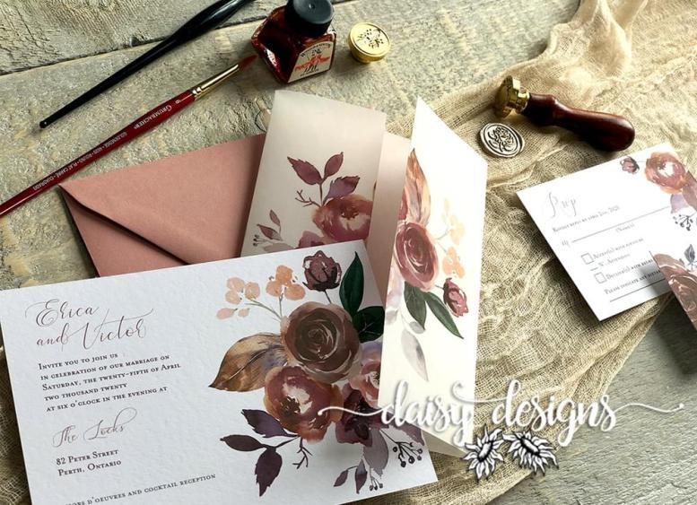 Butter Rum Boho - Vellum wrap with invite
