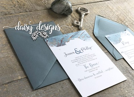 Dusty Blue Modern Paint - invite, rsvp with dusty blue envelopes