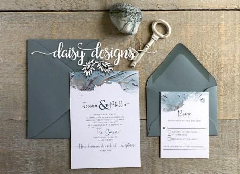 Dusty Blue Modern Paint - invite suite