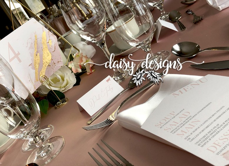 Blush and Gold Modern Paint - menu and place card