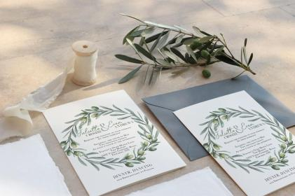 Italian Garden invite with envelope and olive branch