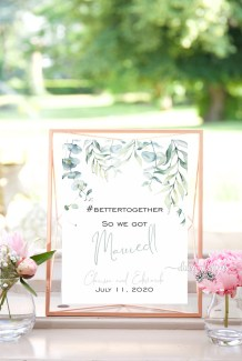 Watercolour Eucalyptus sign - #bettertogether So We Got Married