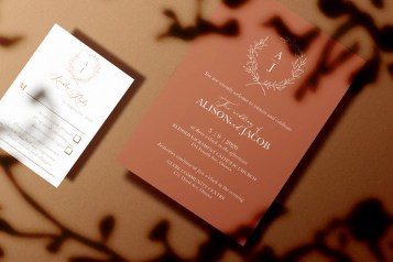 Victorian Simplicity invite set in terra cotta