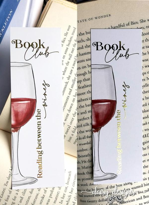 Book Club bookmark showing gold foil text