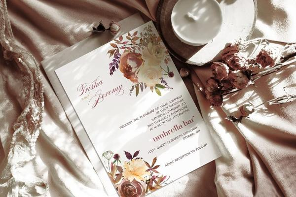 DIY Printable - Boho Romance invite with dried flowers and candle
