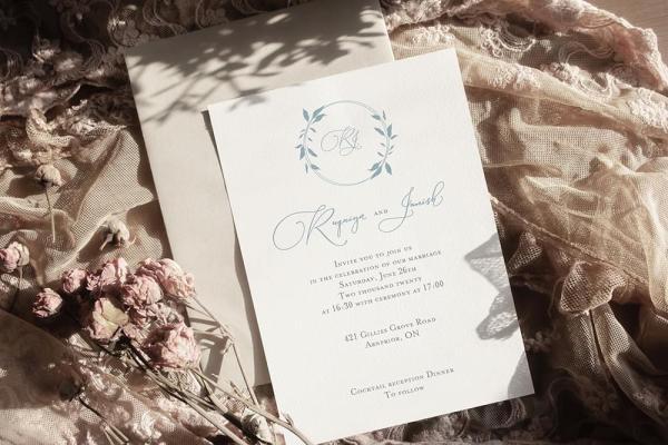 DIY Printable - Dusty Blue Monogram invite with beige envelope