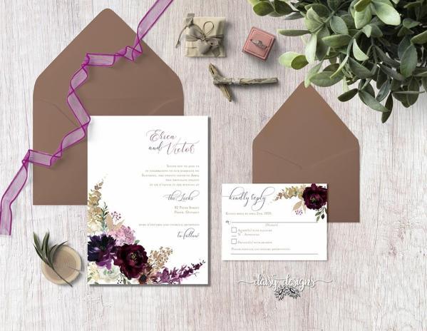 DIY Printable - Deep Burgundy Florals - suite with dark envelopes