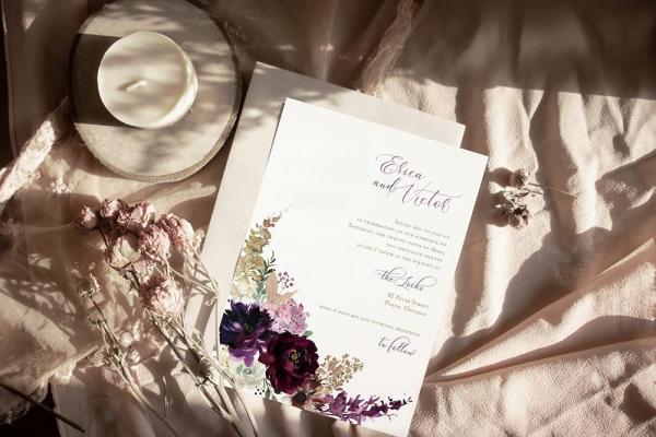 DIY Printable - Deep Burgundy Florals - invite with beige envelope