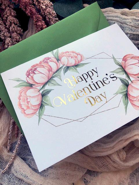 Blush Peonies Valentines Day card