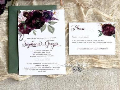 Sangria wedding invite suite with moss green envelopes