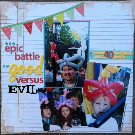 The Epic Battle of Good Versus Evil scrapbooking layout