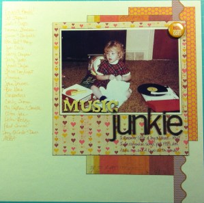 Scrapbook LO of me and two record players