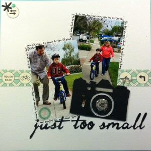 Scrapbook LO of Sean learning to ride a bicycle.