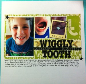 Scrapbook LO of Sean's Missing Tooth