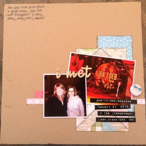 Scrapbook LO of meeting Lisa Loeb