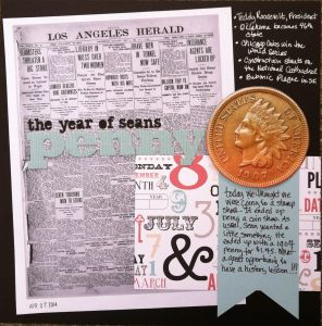 scrapbook layout depicting a 1907 penny