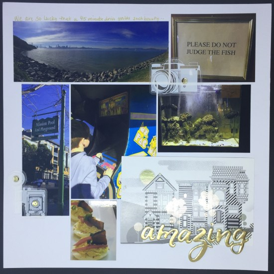 This is a LO with pictures from our day at Angel Island