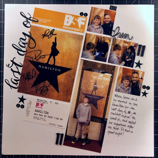 Scrapbook layout of Sean's last day of 11 at Hamilton in San Francisco