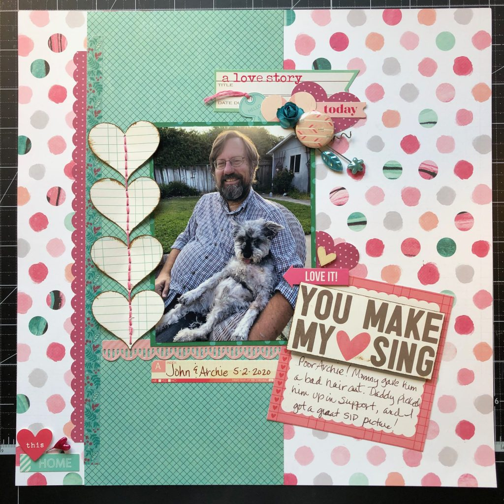Scrapbook layout of my husband and dog Archie