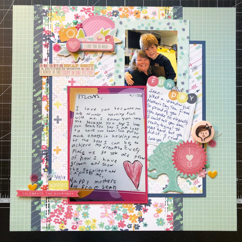 Scrapbook layout of my son's poem to me for Mother's Day