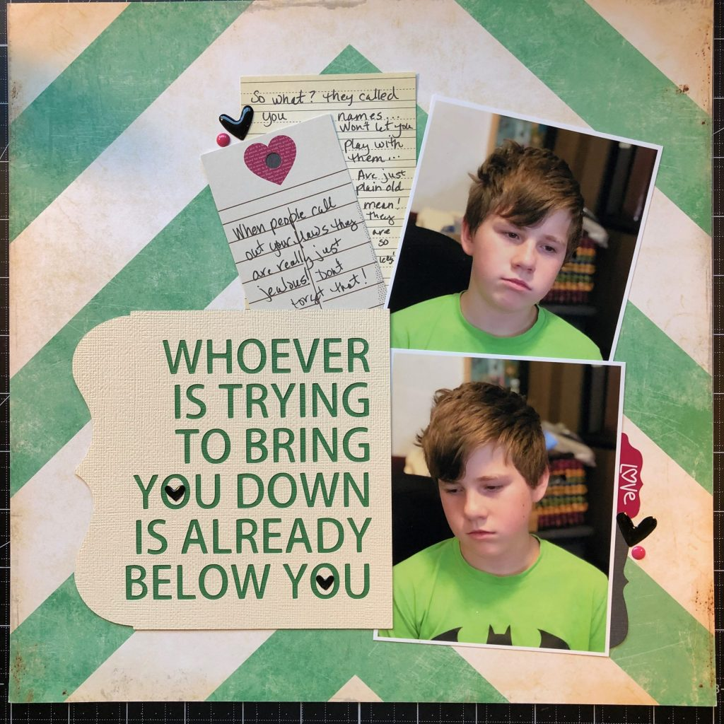 Scrapbook layout about a very pouty Sean