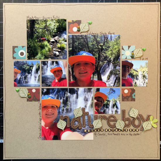 scrapbook layout of Sean at McArthur-Burney Falls Memorial State Park