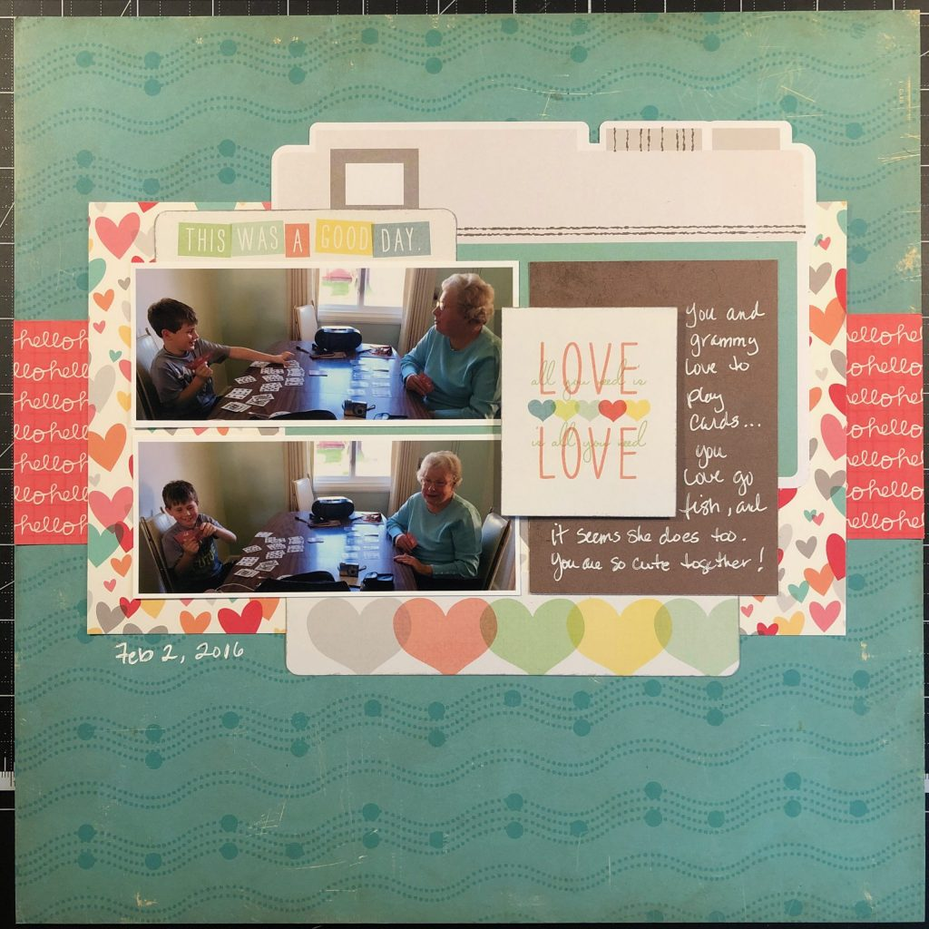 Scrapbook layout of Sean and Grammy playing cards