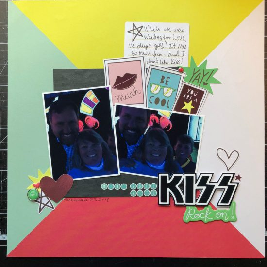 scrapbook layout of us playing miniature golf sponsored by KISS.