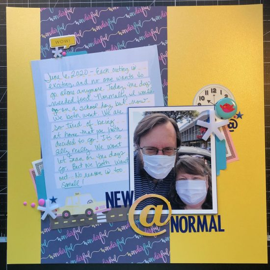 scrapbook layout of John and I at PetCo. Where the pets go.