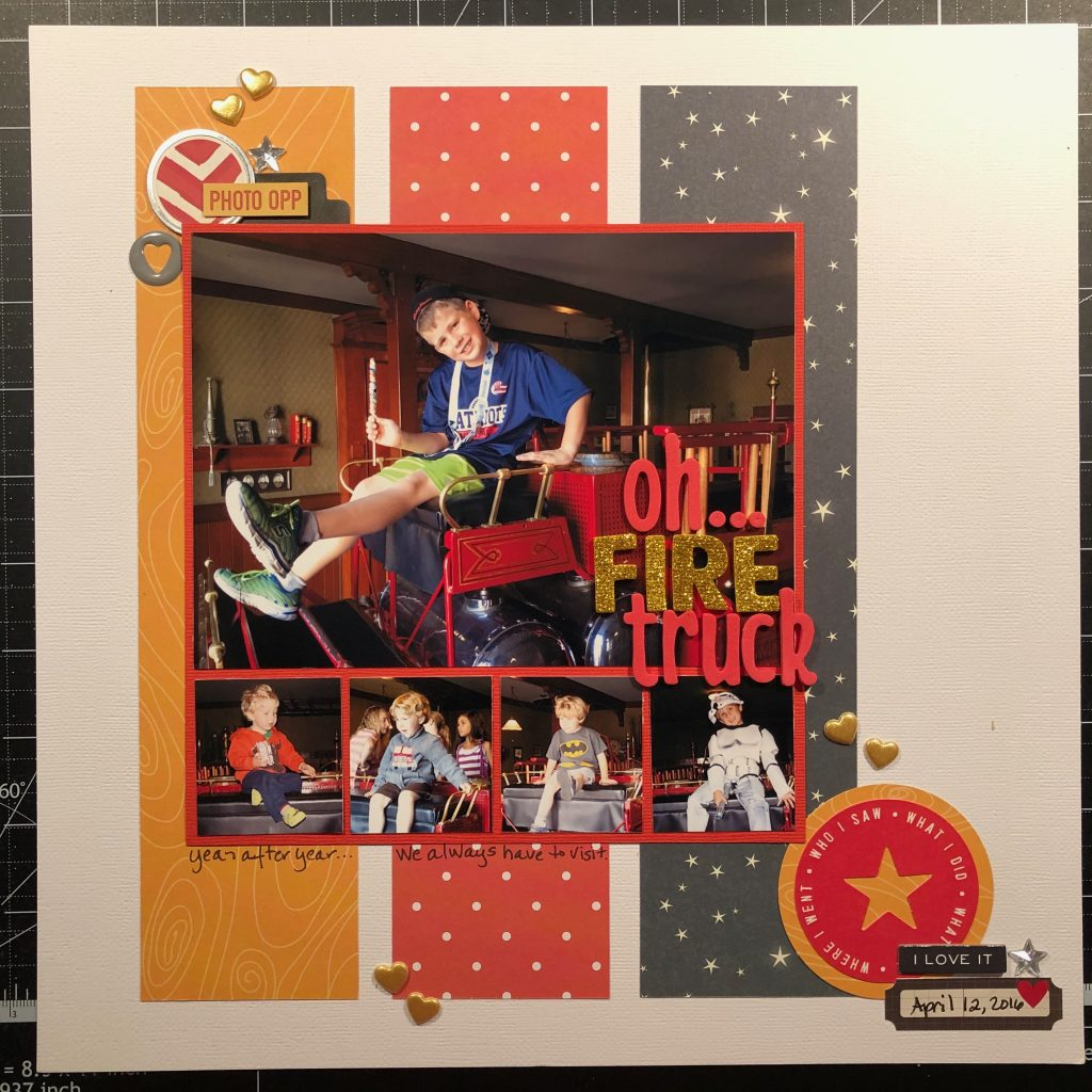 Scrapbook layout: Sean on the fire truck at Disneyland throughout the years.