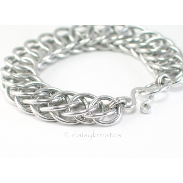 Classic and Bold Half Persian Chainmaille Bracelet in