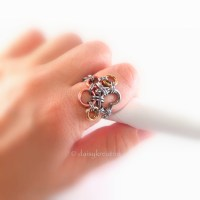 Paw Print Chainmaille Finger Ring in Solid Mixed Metals ...