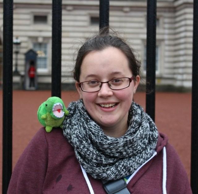 Dinosaur and I at Buckingham Palace.
