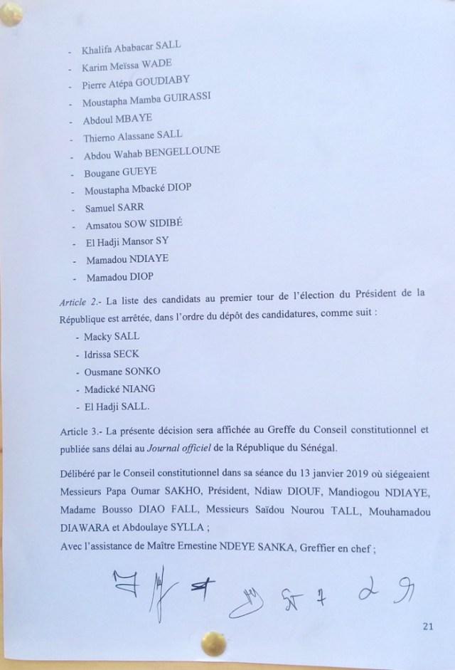 Présidentielle 2019 - Publication de la liste des candidats : voici le dernier jet des motivations du Conseil constitutionnel (Documents)