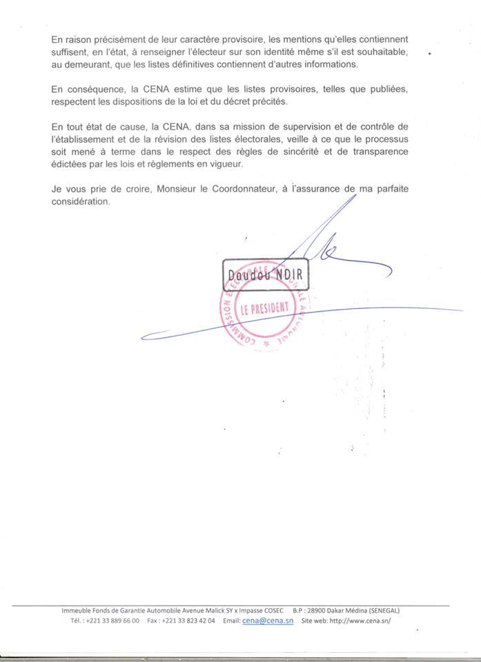 lettre cena