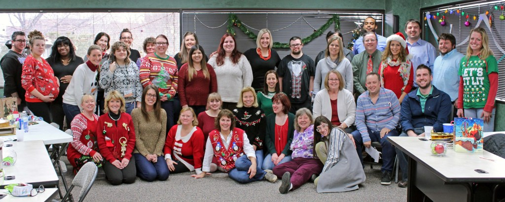 Group staff photo from our 2017 holiday party
