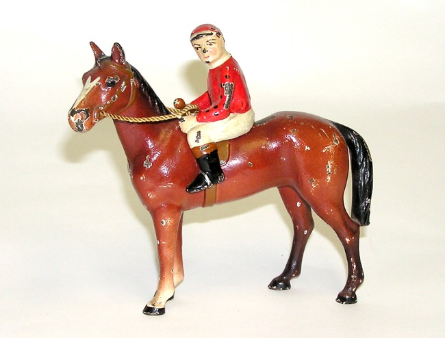 Hubley Horse and Jockey Figural Cast Iron Collectible