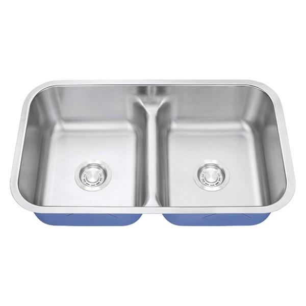 Dakota Signature Series 50/50 Standard Radius Low Divide Undermount 16 Gauge Stainless Steel Sink