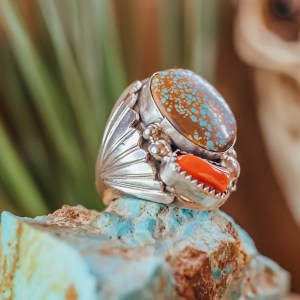 Number 8 & Coral Ring Sz. 11