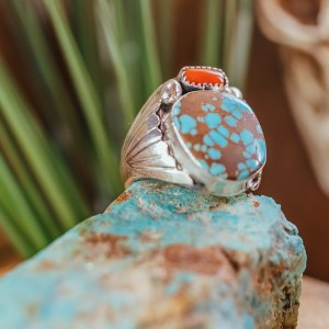 Number 8 & Coral Ring Sz. 14