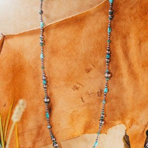 """Navajo Pearl & Turquoise Necklace 30"""""""