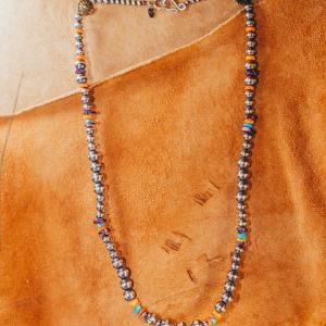 """Turquoise & Spiny Oyster Necklace 24"""""""
