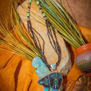Zuni Inlay Bear Necklace