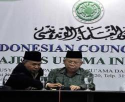 Ketua MUI Pusat Ma'ruf Amin (kanan). (okezone)